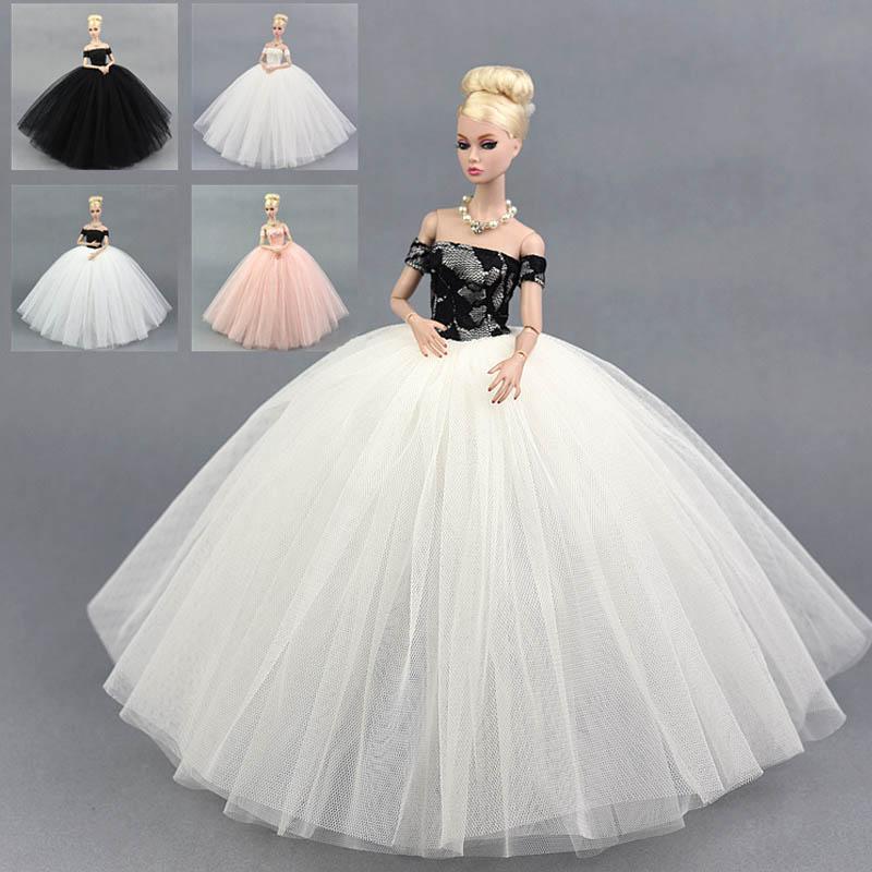 cd7f8357f Compre Moda Boneca Vestido Traje Elegante Senhora Vestido De Casamento Para  Roupas De Boneca Para 1 6 BJD Vestidos De Presente Brinquedo De Luckyno