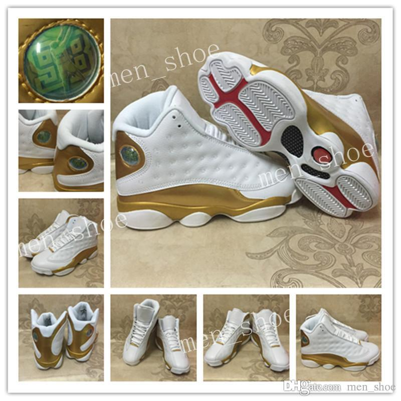 Hot New 13 DMP White Metallic Gold mens Basketball Shoes Sneakers running  shoes for men high quality 13s sport sneaker with shoes box