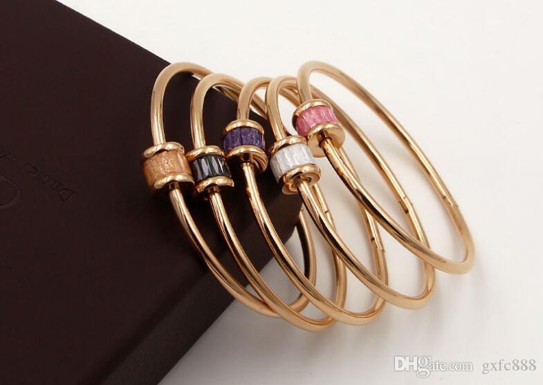 Braccialetto in acciaio di titanio placcato oro rosa 18 carati placcato coreano bracciale in acciaio da donna minimalista
