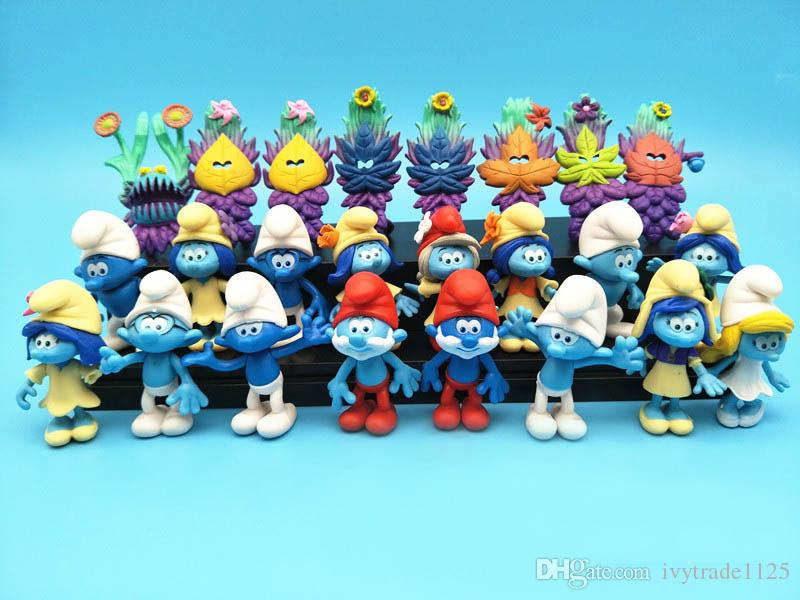 Set Smurfs 잃어버린 마을 엘프 아빠 스머 페트 서투른 액션 피규어 미스터리 마스크 케이크 토퍼 플레이 세트 장난감