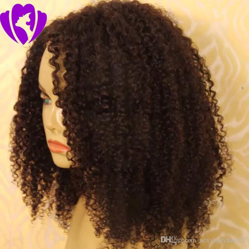 Yan kısmı siyah Kısa kıvırcık Siyah Kadınlar için Peruk Afro Kinky Kıvırcık sentetik dantel ön peruk Afrikalı Amerikalı kadınlar için