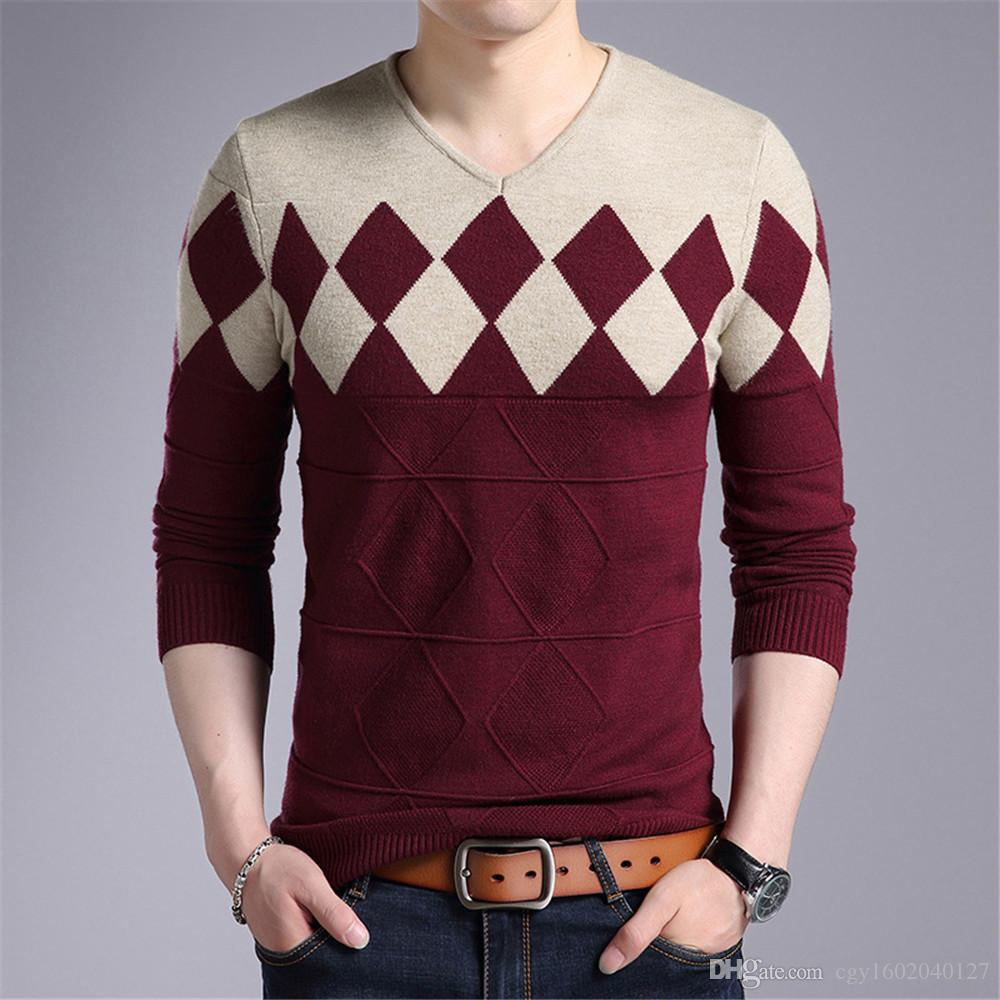 b5c93c998f99f7 New Wool Sweater Men 2018 Autumn Winter Slim Fit Pullovers Men ...