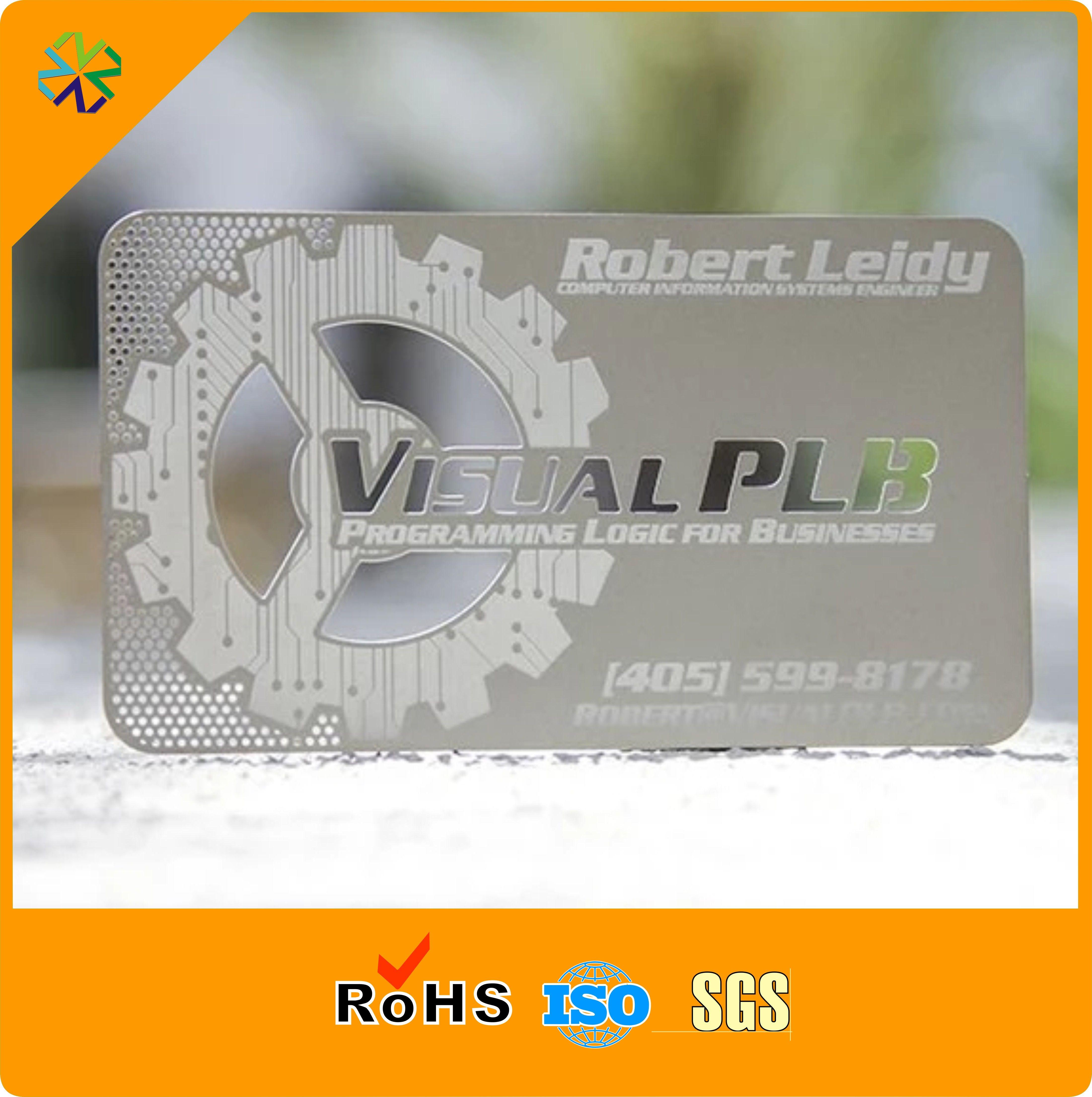 Acheter Cartes De Visite En Metal Argente Avec Logo Personnalise Taille Couleur 25145 Du Vingyuan