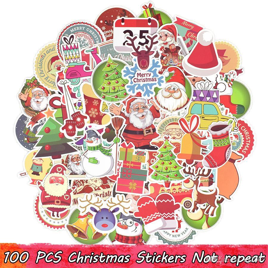 Frohe Weihnachten Aufkleber.100 Stücke Frohe Weihnachten Aufkleber Weihnachtsbäume Weihnachtsmann Elch Decals Für Home Christmas Party Decor Fenster Snowboard Kühlschrank