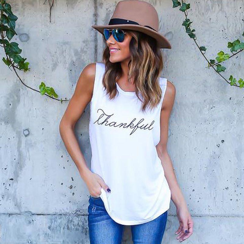 3ba3fb37042df 2019 100% Cotton 2018 Summer T Shirt New Fashion Letter Print Thankful  Jersey Women Tank Tops Sleeveless Plus Size Loose Knitwear From Z6241163
