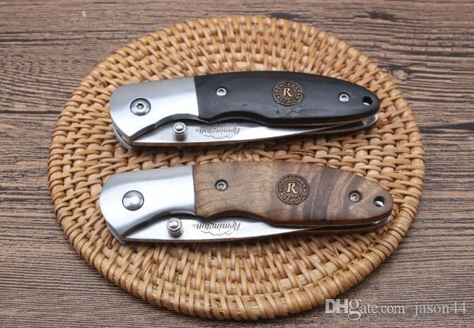 High quality wooden handle Remington folding pocket knife ebony/white shadow wood solid structure sharp blade outdoor survival knife