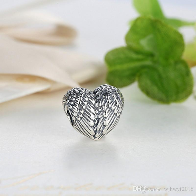 Vintage Engelsfedern Charms Perle Original 925 Sterling Silber Engelsflügel Herz Perlen Für Schmuck Machen DIY Armband Zubehör HB371