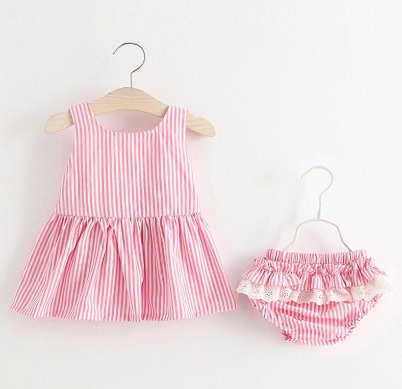 Gestreifte 2 Stück Kleid Set Baumwolle Baby-Kleidung kurze Hosen Netter Backless Sommer-Minikleid Sets 18050401