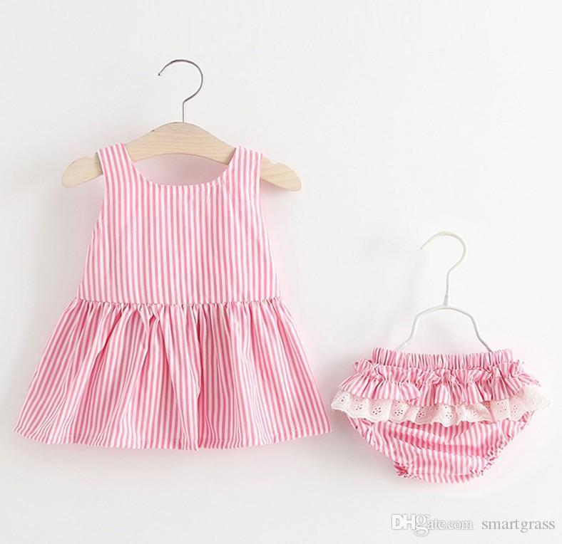 Striped Dress Set Cotton Baby Girl Clothes Short Pants Cute Backless Summer Mini Dress Sets 18050401