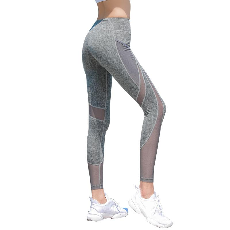 e122401c0d8 Middle Waist And Quick Dry Yoga Pants Fitness Pants Breathable Mesh Sports  Women Tight Elastic Hip Fitness Leggings