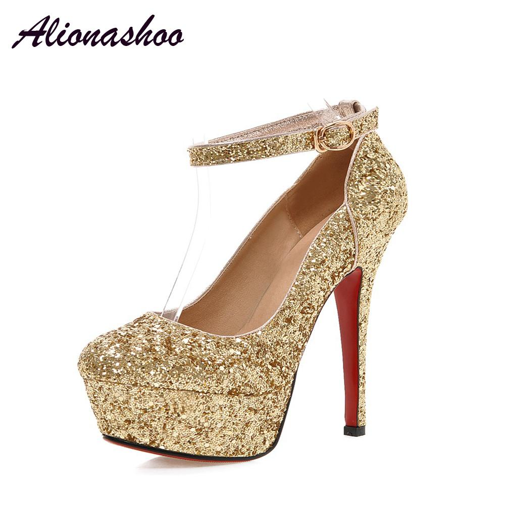 3235394523e6 Alionashoo Fashion Buckle Crystals Bling Pumps Women Elegant Thin High Heels  Round Toe Party Wedding Shoes Woman Gold Silver Designer Shoes High Heel  Shoes ...