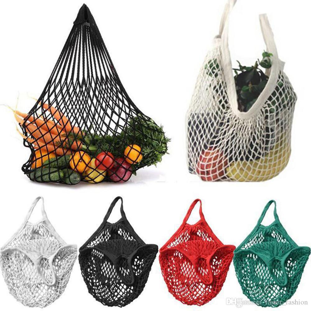 Mesh Net Shopping Bags Fruits Vegetable Portable Foldable Cotton Hanging String Reusable Turtle Bags Tote for Kitchen Juice Storage Handbag