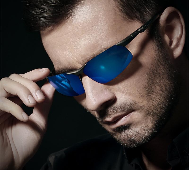 b25de7b67b4 Blue Men s Semi-Rimless Sunglasses Polarized Coating Mirror Driving ...