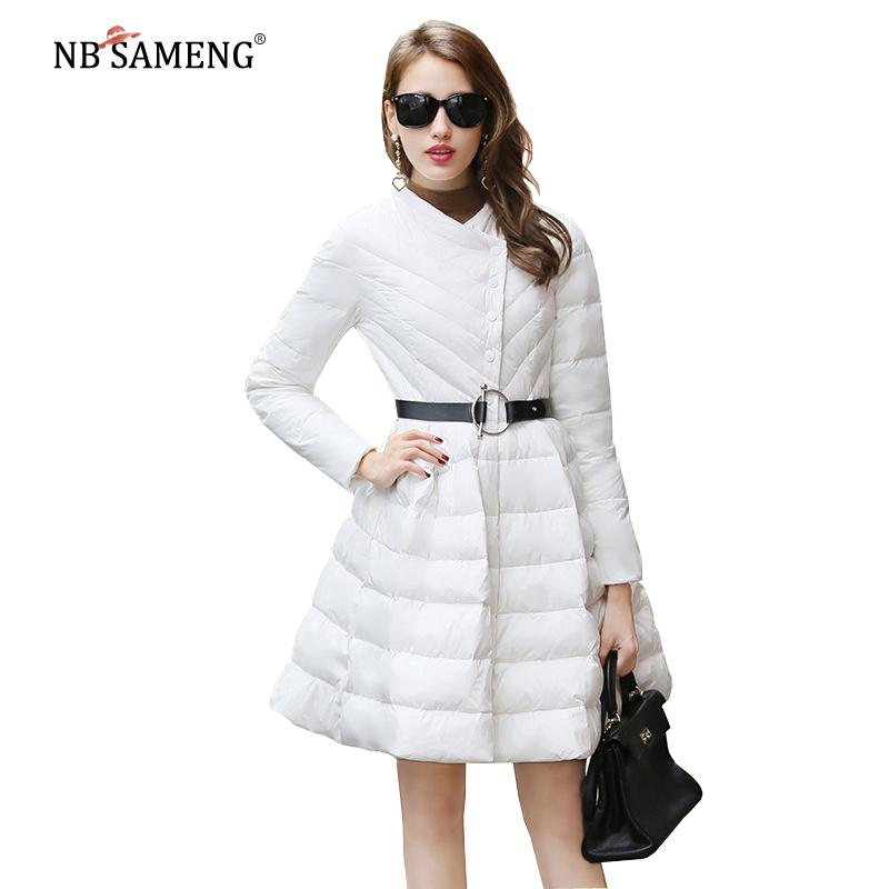 62bb536fe 2018 New Fashion Women Winter Down Jackets Warm Long Slim Warm Coat Pleated  Wave Skirt Female Big Swing Ladies Outwear Dress