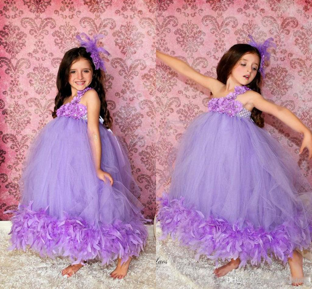 0437918a3 Purple Ball Gown One Shoulder Flower Girl Dresses With Handmade Flowers  Pleats Lace Beads Beading Sweet Tutu Feather Kids Girls Pageant Gown Flower  Girl ...