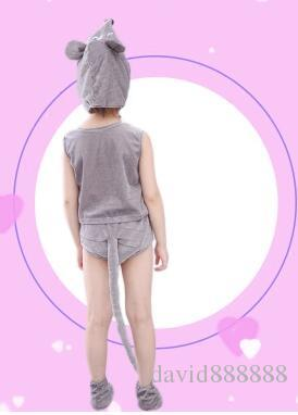 2018 الأطفال نمط جديد تأثيري ماوس الحيوان أداء ملابس للأولاد والفتيات ملابس الرقص الملتصقة