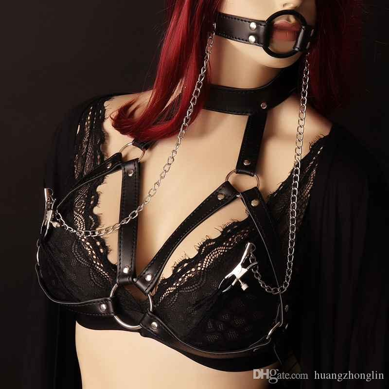 womens leather harness fashion goth women womens leather harness fashion goth women chest o ring studded strap
