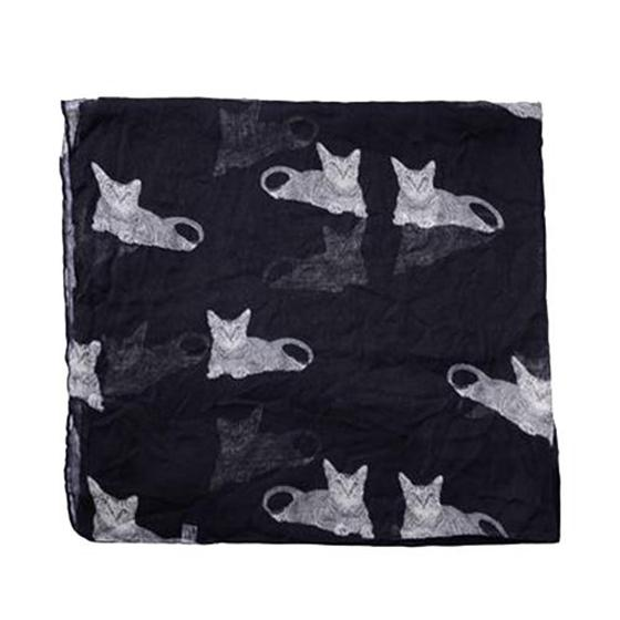 Womens Cute Cat Print Long Scarf Soft Yarn Wrap Shawl Stole Neck Warm Scarves