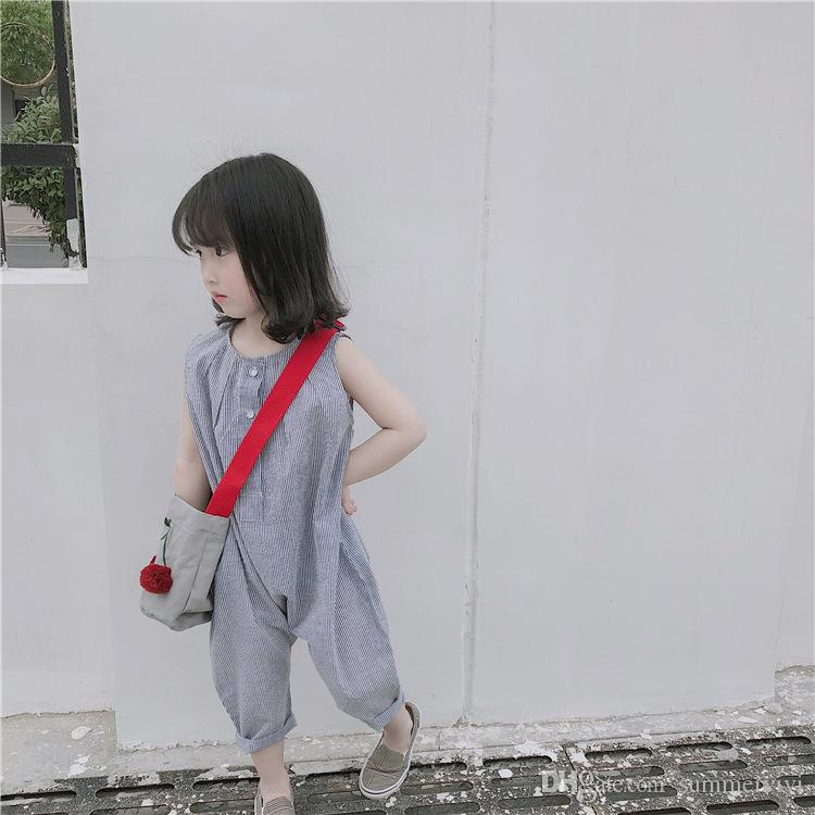 Summer new Little girls stripes jumpsuits toddler kids round collar sleeveless one-piece overall children loose casual clothes Y4297