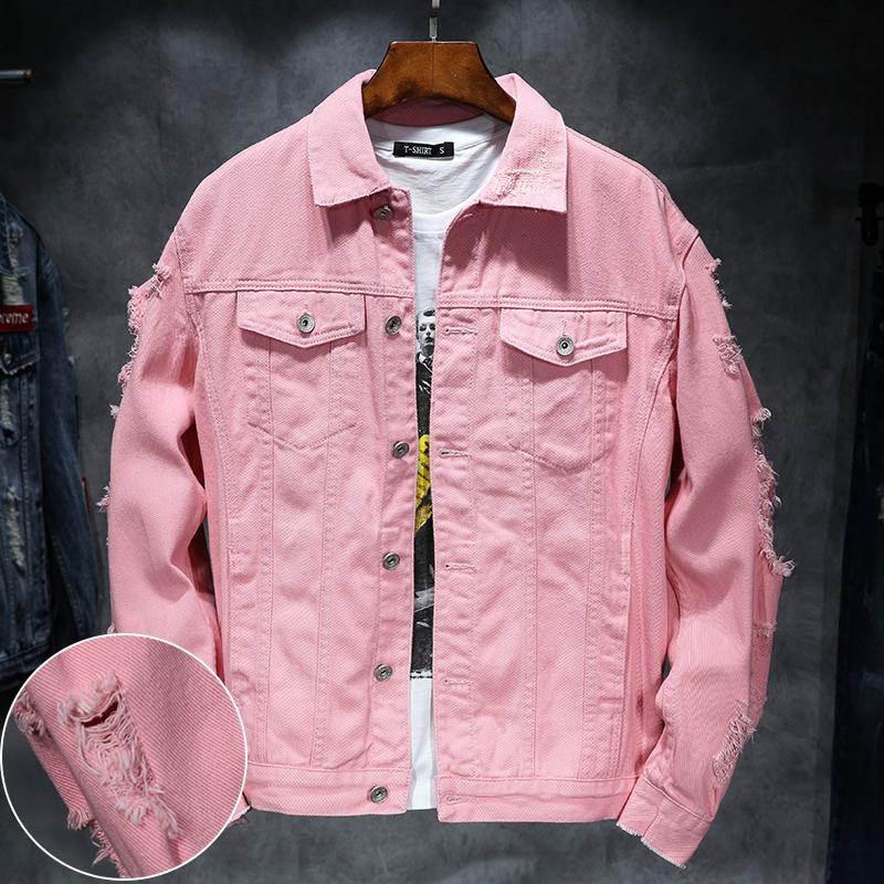 5f7f0028 YuWaiJiaRen Denim Jacket Men Ripped Holes Mens Pink Jean Jackets New 2018 Garment  Washed Mens Denim Coat D18100802 Overcoats For Men Online Men Coat Jacket  ...