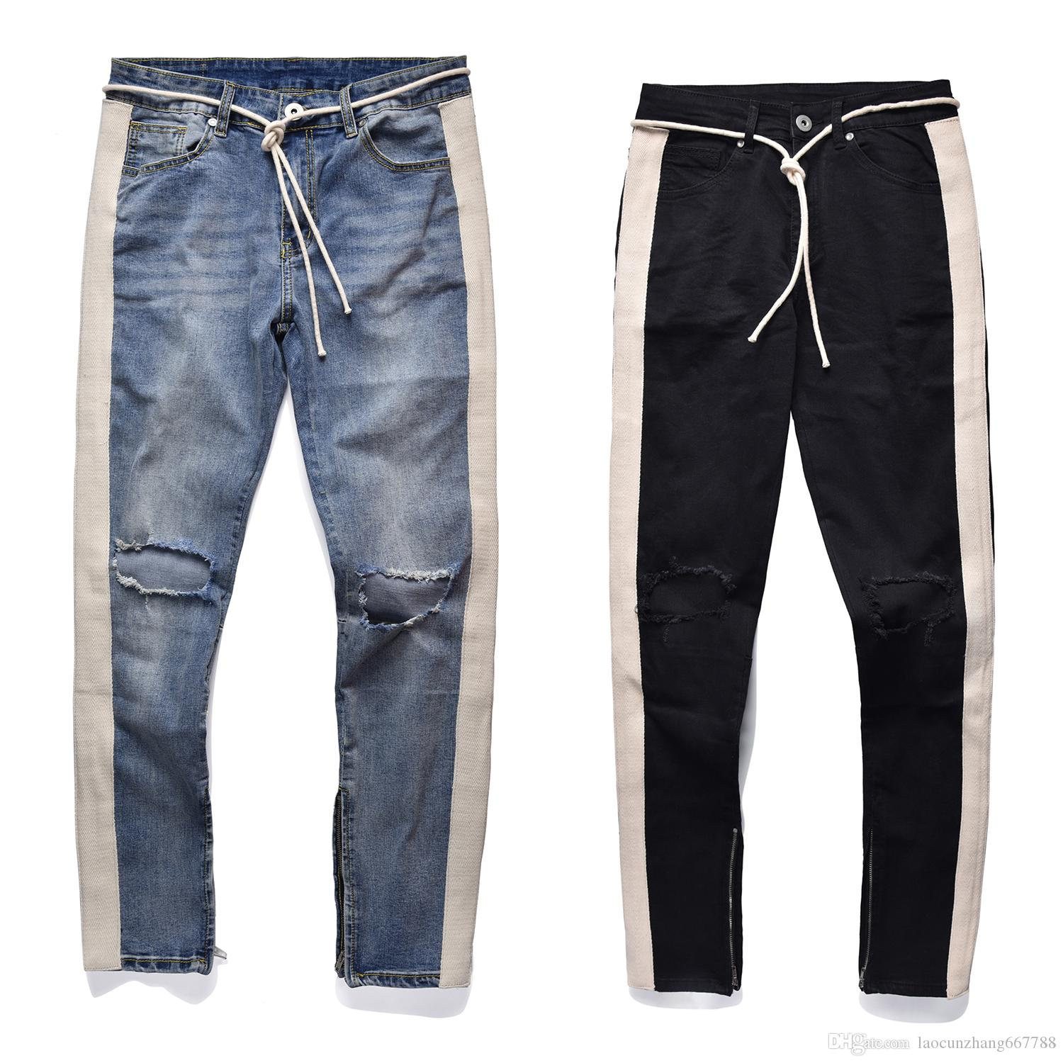 f396a51b6cb3 2019 Black Icon 2018 RETRO DENIM BLUE Black Men Hole Jeans Ripped Destroyed Men  Jeans Hip Hop White Stripe Stitching Bottom Side Zipper Jeans From ...