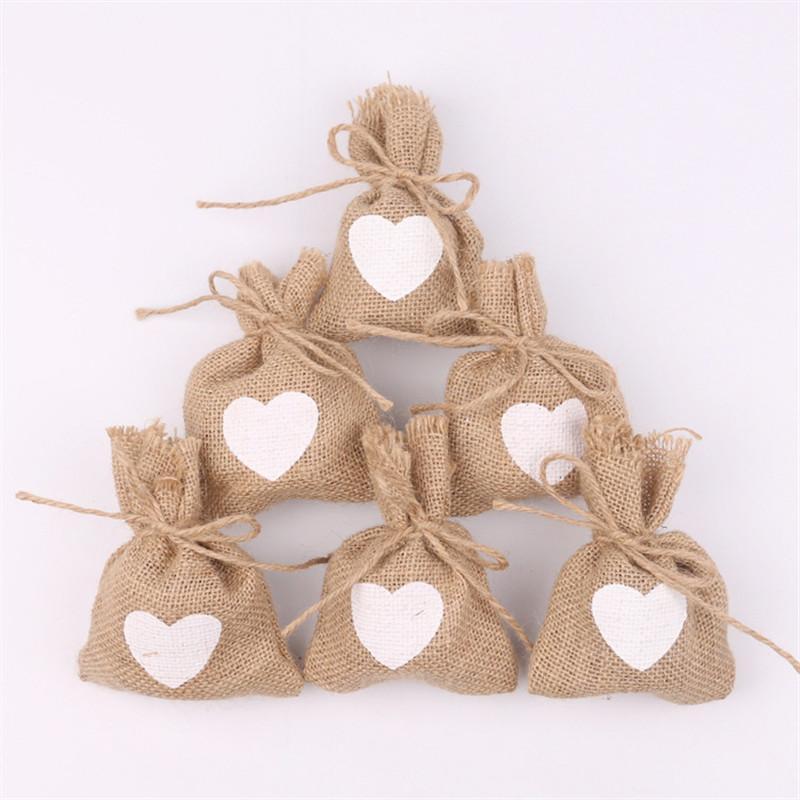 2018 Singlelove Heart Pattern Jute Linen Drawstring Bags Wedding