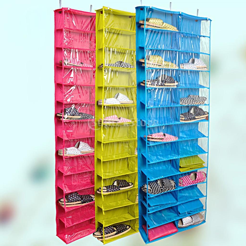 2018 26 Pockets Over The Door Shoe Organizer Space Saver Rack