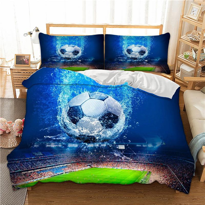 2f85bfdc Cilected 3D Blue Football Printed Duvet Cover Bedding Set 3Pcs Bed Cover  With Pillow Cases Twin Full Queen Double King Size