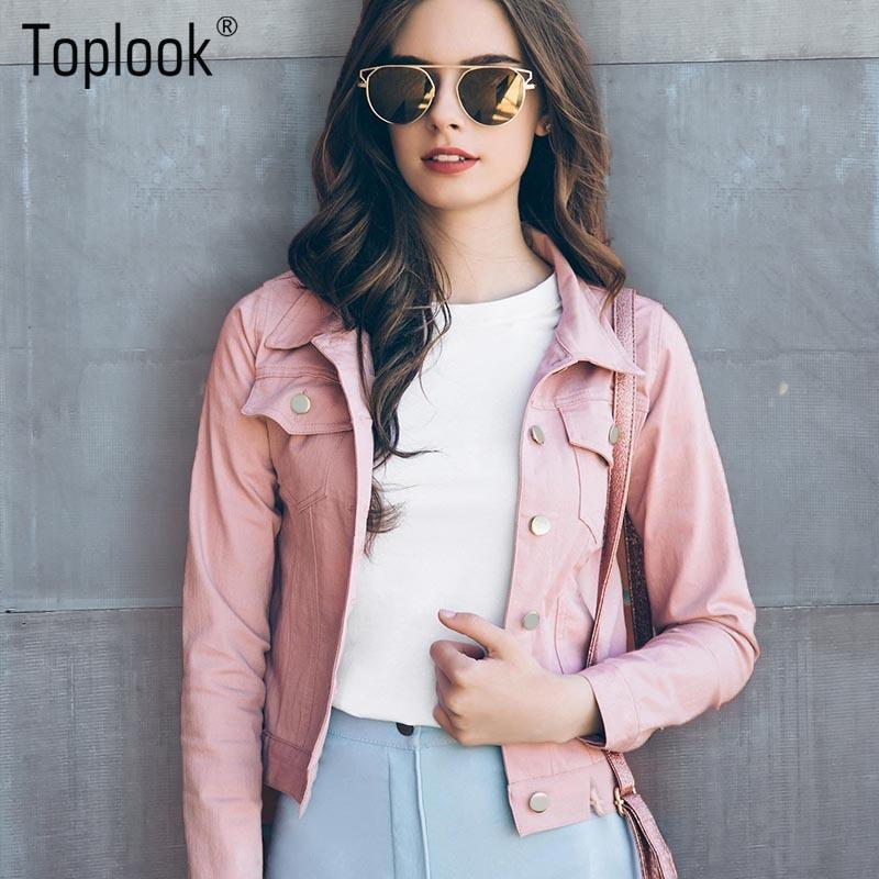 6f15ac5d1 Toplook Pink Suede Jackets Women 2017 New Autumn Winter Long Sleeve Pockets  Coat Single-breasted Fashion Jacket For LadiesY1882402