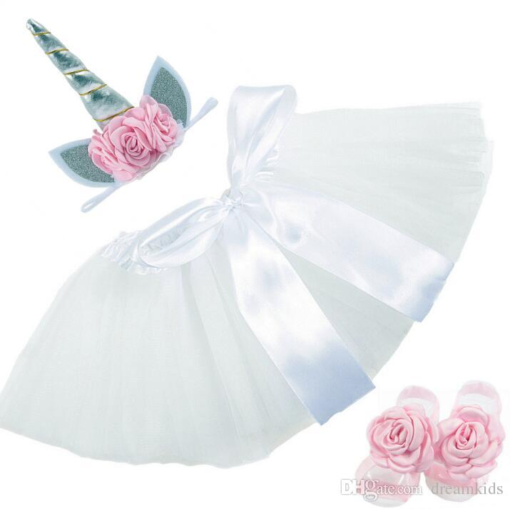 set Newborn Baby Girls Unicorn Romper Jumpsuit Ruffle Tutu Dress Headband Shoes Infant Baby 1st Birthday Clothing Outfit Set