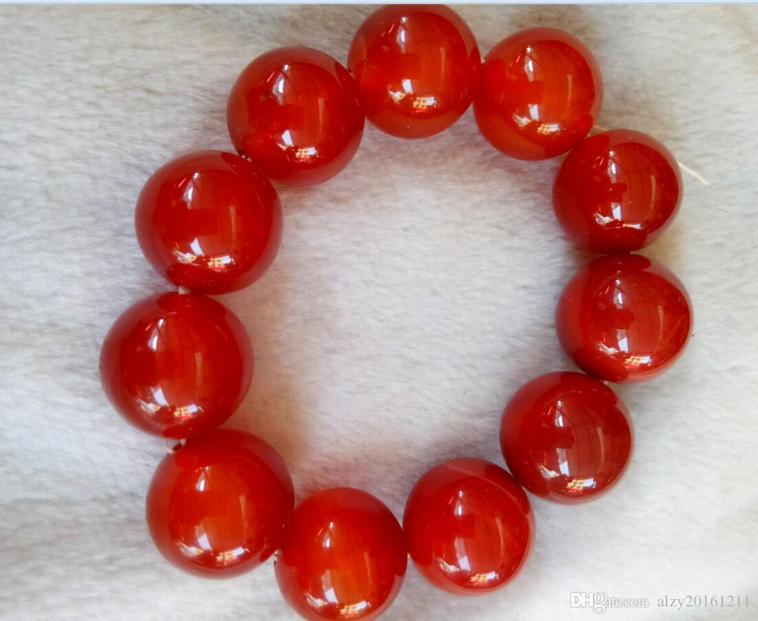 Китай Природный 20 мм Красный Оникс Джейд Бисер Бесплатная Доставка A3