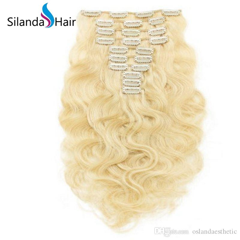 Silanda Hair #613 Blonde Body Wave Remy Hair Extension Clip In Human Hair Extensions 10pcs/pack Free Shipping