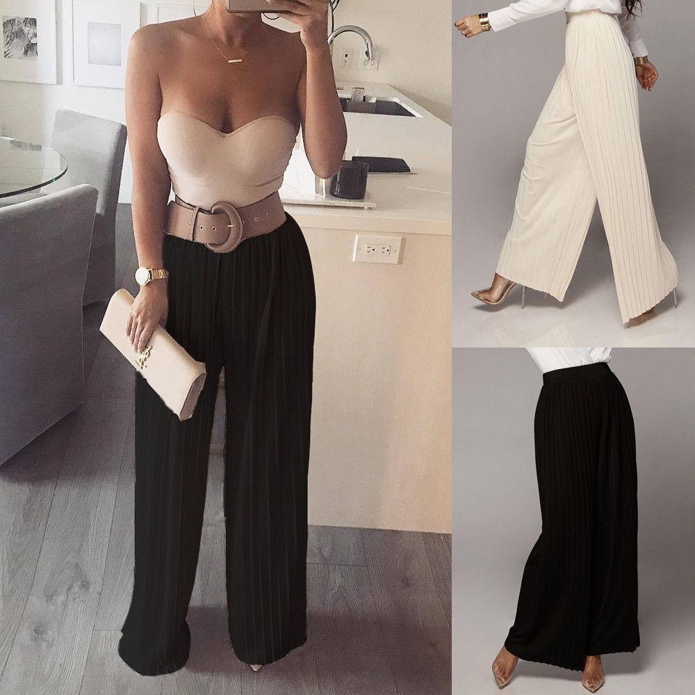941028b16ef 2019 Hot Women Pants High Waist Casual Wide Leg Beach Pleated Pant Trousers  Summer New Fashion Loose Pants From Modeng08