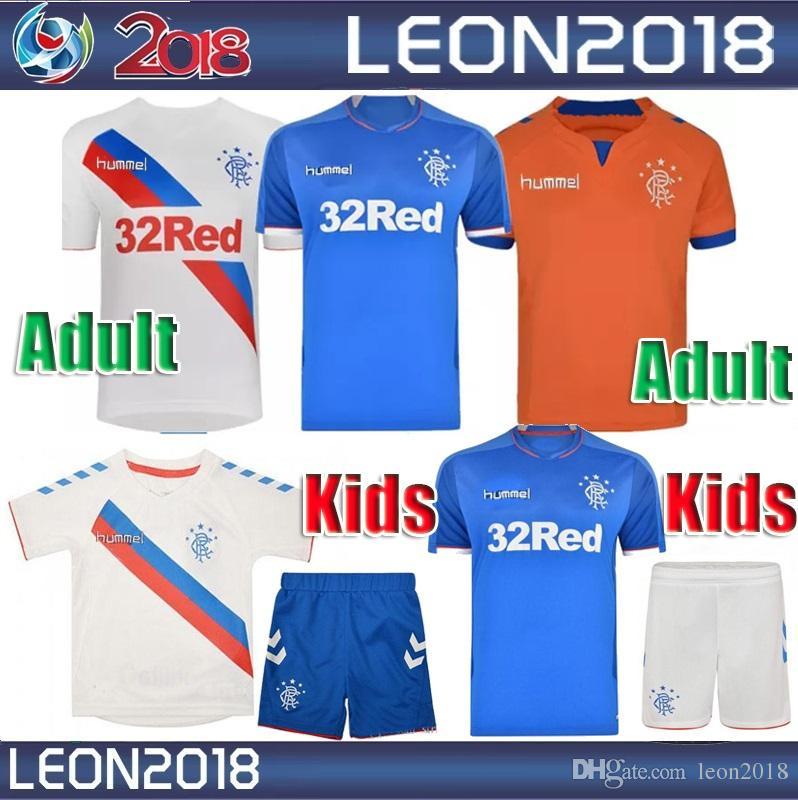 4ac7c3c300a Adult Kids 2018 2019 Rangers FC Home Blue Soccer Jersey 18 19 Child ...