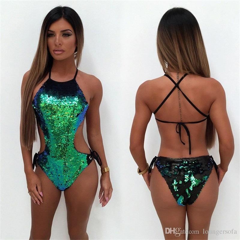 bb275b0ea3 2019 Lady Bandage Swimwear Fashion Backless Bikini Woman Brand Designer  Swimsuit With Green Mermaid Sequins One Piece Suits 41cr Ww From Loungersofa,  ...
