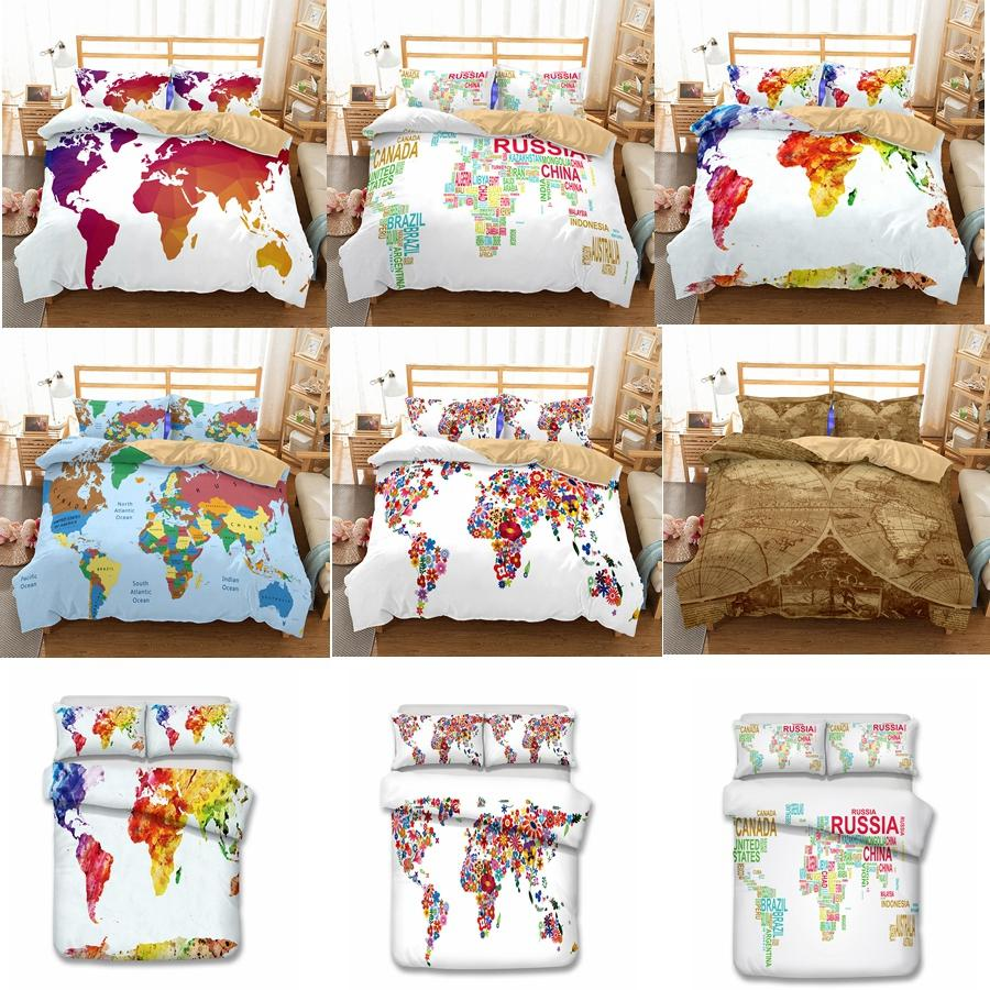 US AU Size 3pcs Luxury Bedding Set Duvet World Map Printed Bed Cover Set  King Sizes Duvet Cover Bedding Set 6styles GGA774