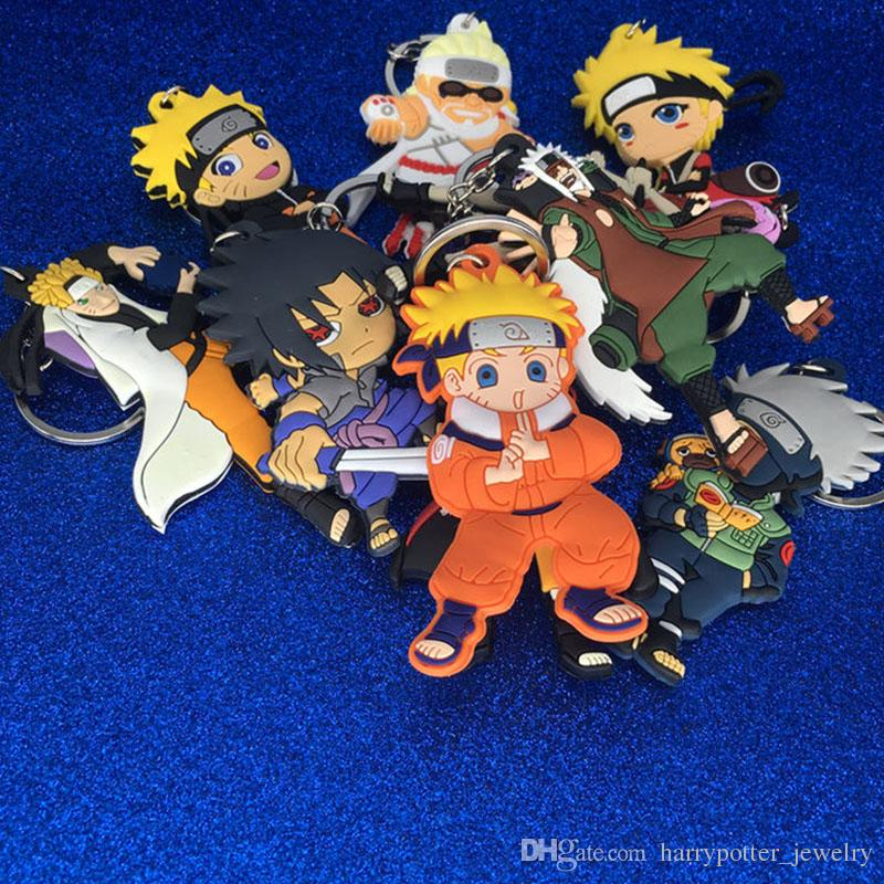 New Naruto Chaveiro De Plástico Naruto Uzumaki Sakura Figuras de Ação Keychain Chave Anéis Presente Da Jóia Da Forma do transporte da gota 170887