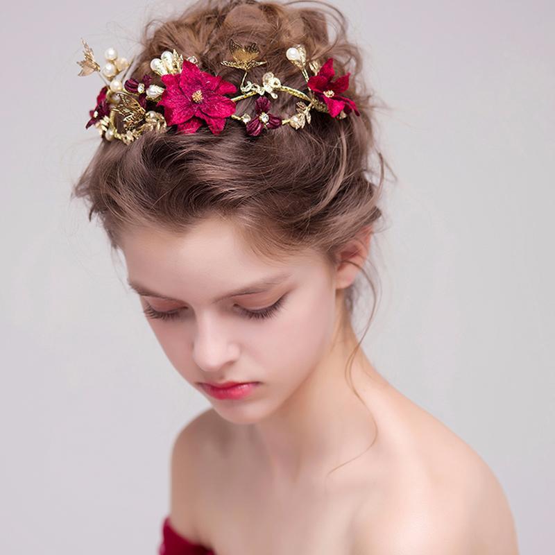 Grosshandel Rote Blume Braut Frisuren Gold Verlasst Schmetterling