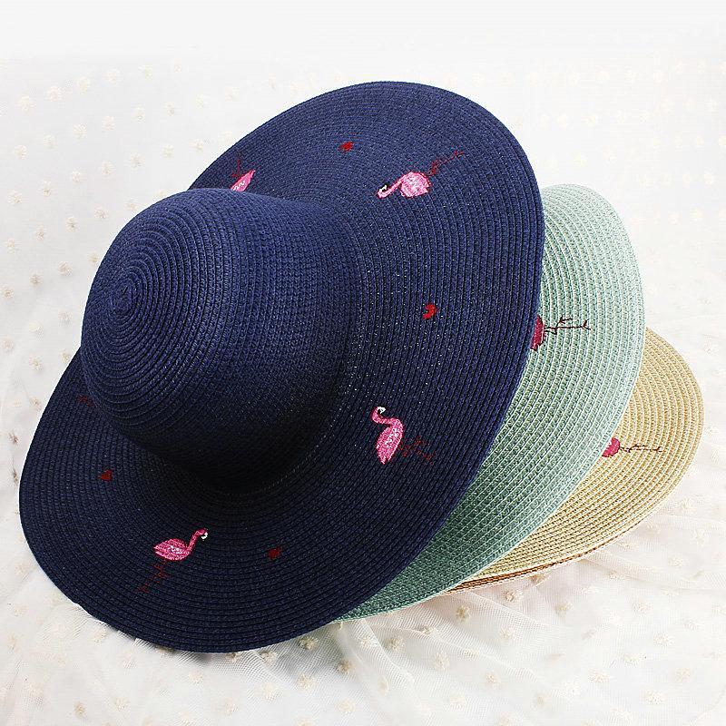 e4b209ac296 2019 Foldable Straw Hat For Girl Flamingo Lady Summer Hats From Shunhuico