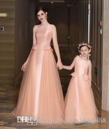 Newest Elegant Mother and Daughter Prom Dresses Satin Tulle Peplum Jewel Bead Applique Celebrite Formal Party Gowns