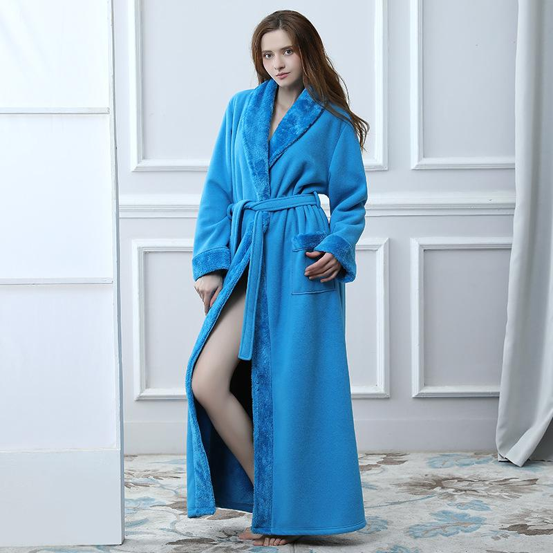 0912b39cfee2 2019 Winter Women Bathrobe Hooded Men Autumn Thick Warm Towel Fleece  Sleepwear Long Robe Hotel Spa Soft Long Nightgown Kimono Robe From  Benedica