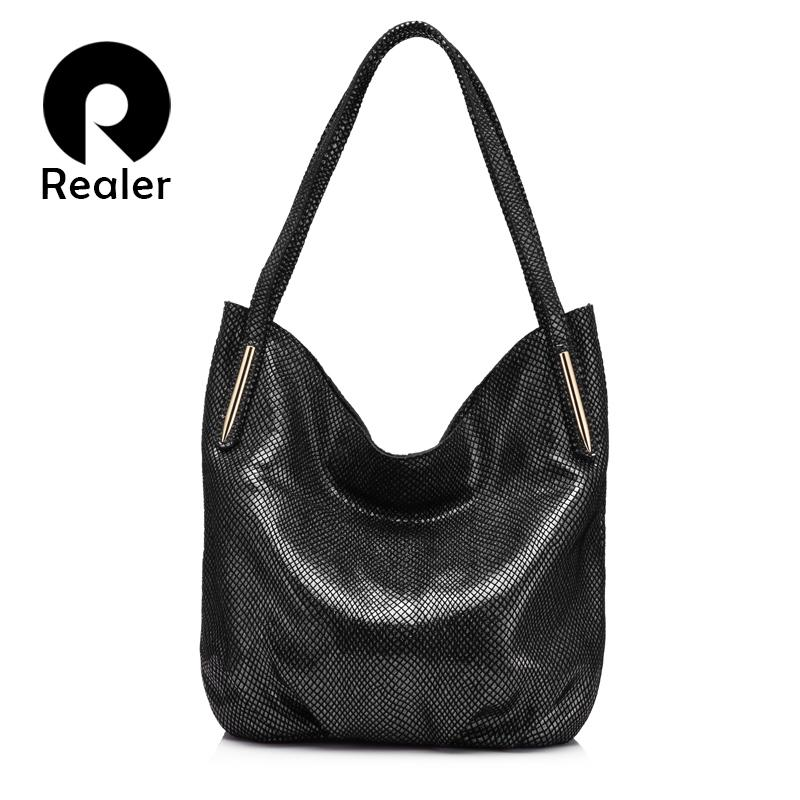 Top-handle Bags Realer Brand New Arrival Women Serpentine Genuine Leather Handbag Ladies Shoulder Bag Fashion Women Small Totes Small Hobos Bag Easy And Simple To Handle