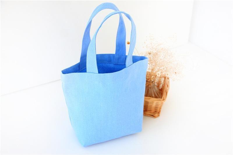 tote bag portatile di tela bento tinta unita in bianco puro borsa di plastica cosmetica a mano di colore della tela di canapa borsa a mano stampa logo patter.
