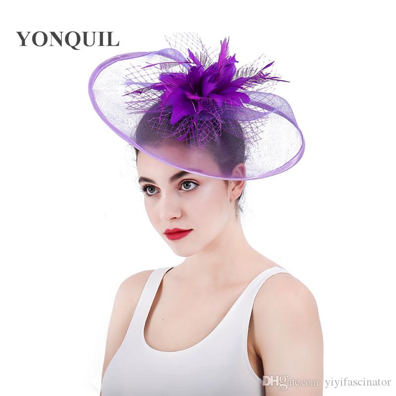 f30ac0e8764 Top Quality Purple Fascinators Hat With Feather Flowers Wedding Veilling  Hair Accessories For Church Kentucky Derby Ascot Races SYF309 Vintage  Cloche Hats ...