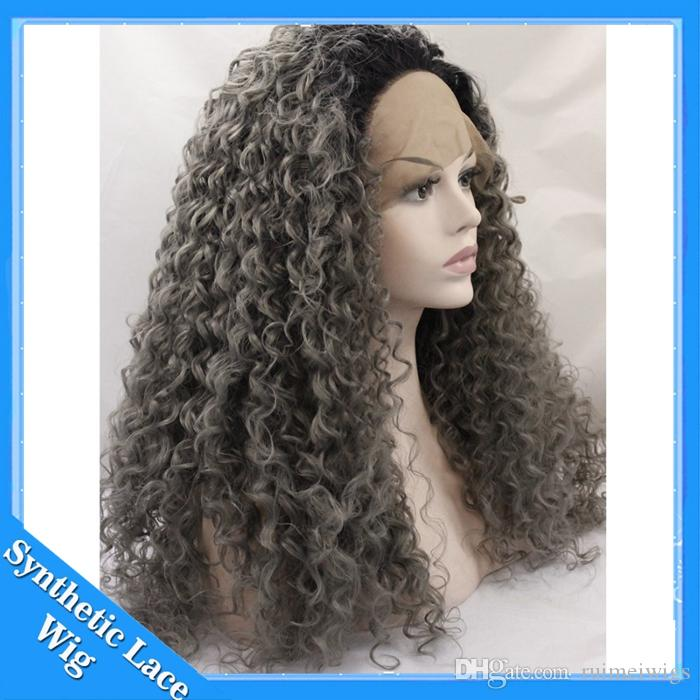 Ombre Afro Kinky Curly Dark Gray Synthetic Lace Front Wig Glueless Two Tone Natural Black Silver Grey Heat Resistant Hair Women Wigs