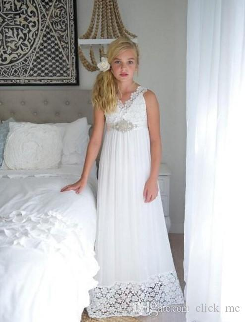 Spring Summer Cheap Flower Girls Dresses For Weddings V Neck Sash Lace Girls Pageant Dress With Beaded Belt Sexy Back First Communion Dress
