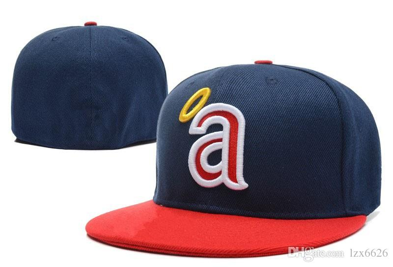 c73768053d5 2018 Angeles Fitted Baseball Caps with Navy Blue Top Red Brim Sports Closed  Hats Outdoor Fashion Hip Hop Chapeau Bones Baseball Fitted Hats Men s  Casual ...