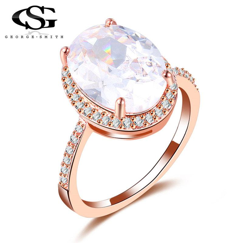 8b994795633 GS Fashion Jewelry Women Rose Gold Color Rings Big White Stone Exaggeration  Party Rings Jewelry for Women Ladies Gift Y3