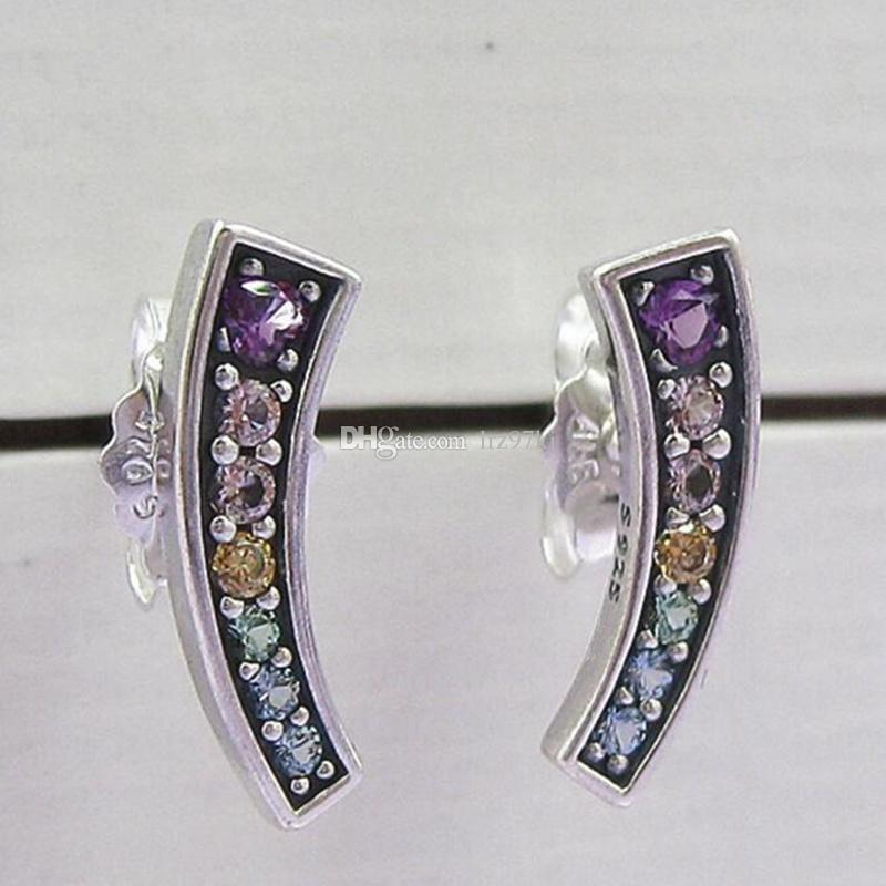 63e6bddfb 2019 2018 New 100% 925 Sterling Silver Multi Colour Arches Stud Earrings  With CZ Fits European Pandora Jewelry From Lrz97kj, $17.49 | DHgate.Com