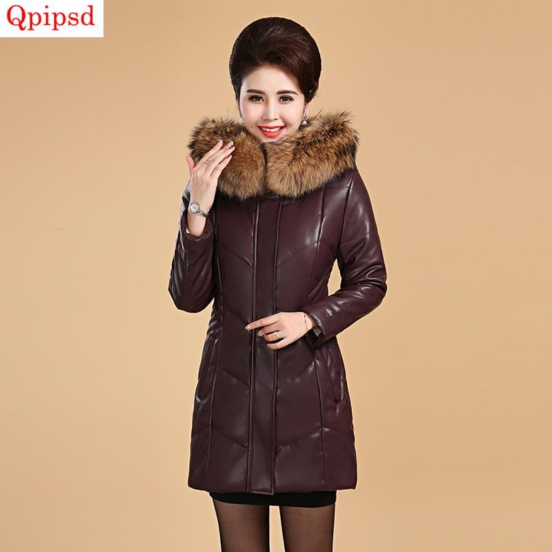 8e10193b74e 2019 2018 Winter Pu Leather Down Jacket Women Long Thicken Warm Down Parkas  Female Hooded Cotton Coats Plus Size Middle Aged Clothing From ...